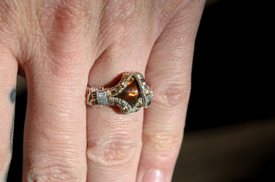 Fire Agate Wire Wrap Ring Size 7.75