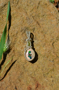 Fire Opal and Peridot Wire Wrap in Sterling Silver