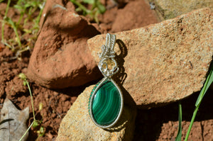 Citrine and Malachite Wire Wrap in Sterling Silver