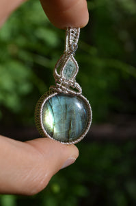 Aquamarine and Labradorite Wire Wrap in Sterling Silver