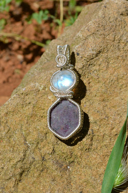 Rainbow Moonstone and Ruby Wire Wrap in Sterling Silver