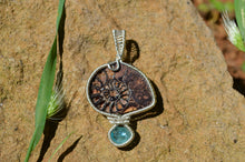 Ammonite and Blue Apatite Wire Wrap in Sterling Silver
