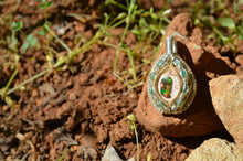 Half Shell - Mexican Cantera Fire Opal and 8 Emeralds