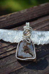 Smokey Quartz and Oro Agate Wire Wrap in Sterling Silver