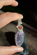 Fire Opal and Amethyst Wire Wrap in Sterling Silver