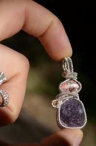 Fire Opal Amethyst Citrine Wire Wrap in Sterling Silver