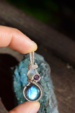 Fire Opal Amethyst and Labradorite Wire Wrap in Sterling Silver