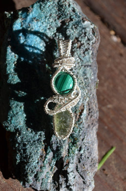 Malachite and Moldavite Wire Wrap in Sterling Silver