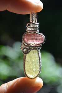 Pink Tourmaline and Golden Apatite Wire Wrap in Sterling Silver
