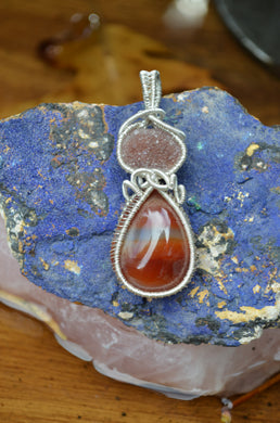 Hematite Amethyst Stalactite and Carnelian Wire Wrap in Sterling Silver