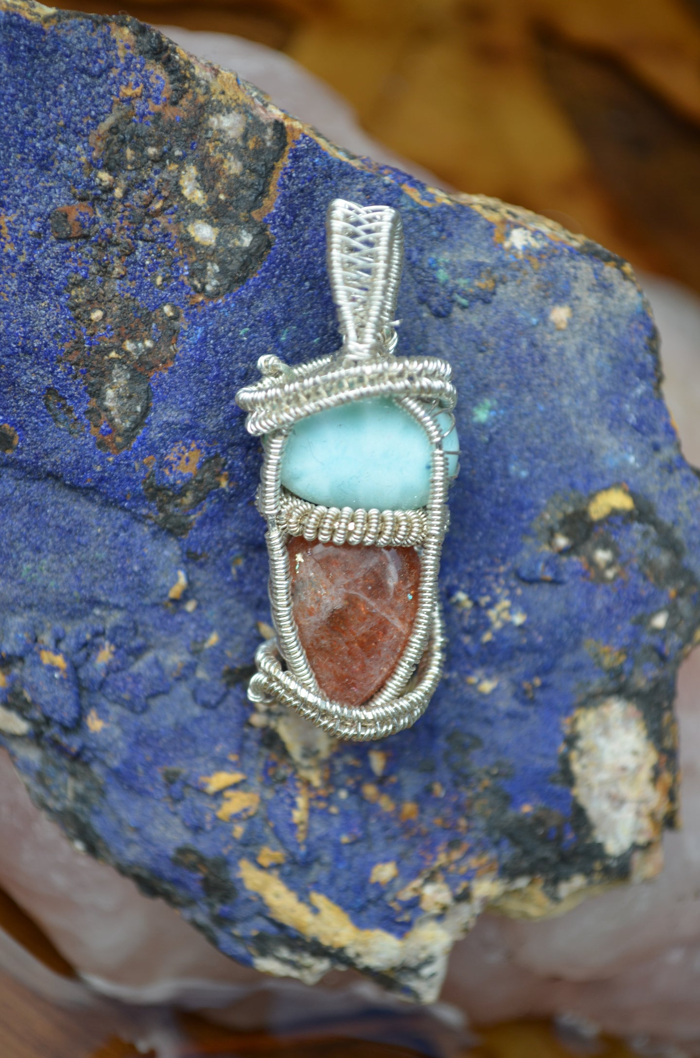 Larimar and Sunstone Wire Wrap in Sterling Silver