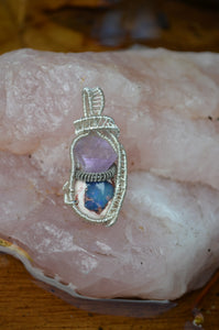 Fluorite and Fire Opal Wire Wrap in Sterling Silver