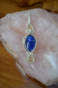 Lapiz Lazuli and 2x Citrine Wire Wrap in Sterling Silver