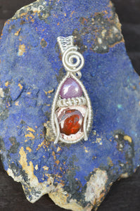 Star Ruby and Fire Opal Wire Wrap in Sterling Silver