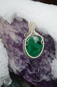 Malachite Rhodonite Double Sided Wire Wrap in Sterling Silver