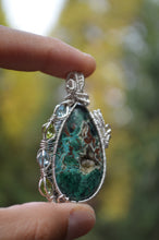 Malachite Chrysocholla Azurite with Botryoidal Agate 4 Peridot and 4 Blue Topaz Wire Wrap in Sterling Silver