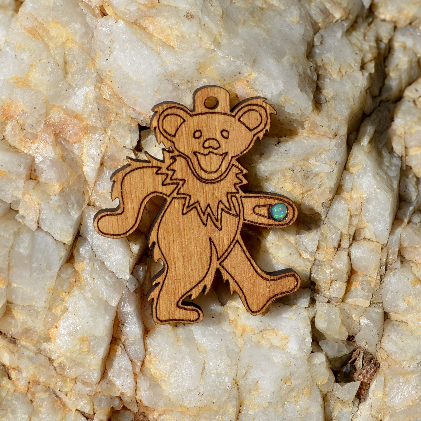 Grateful Dead Bear 2 Fire Opal Pendant