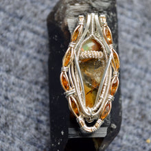 Tannin - Sphene Fire Opal and 8 Golden Tourmaline Wire Wrap Pendant