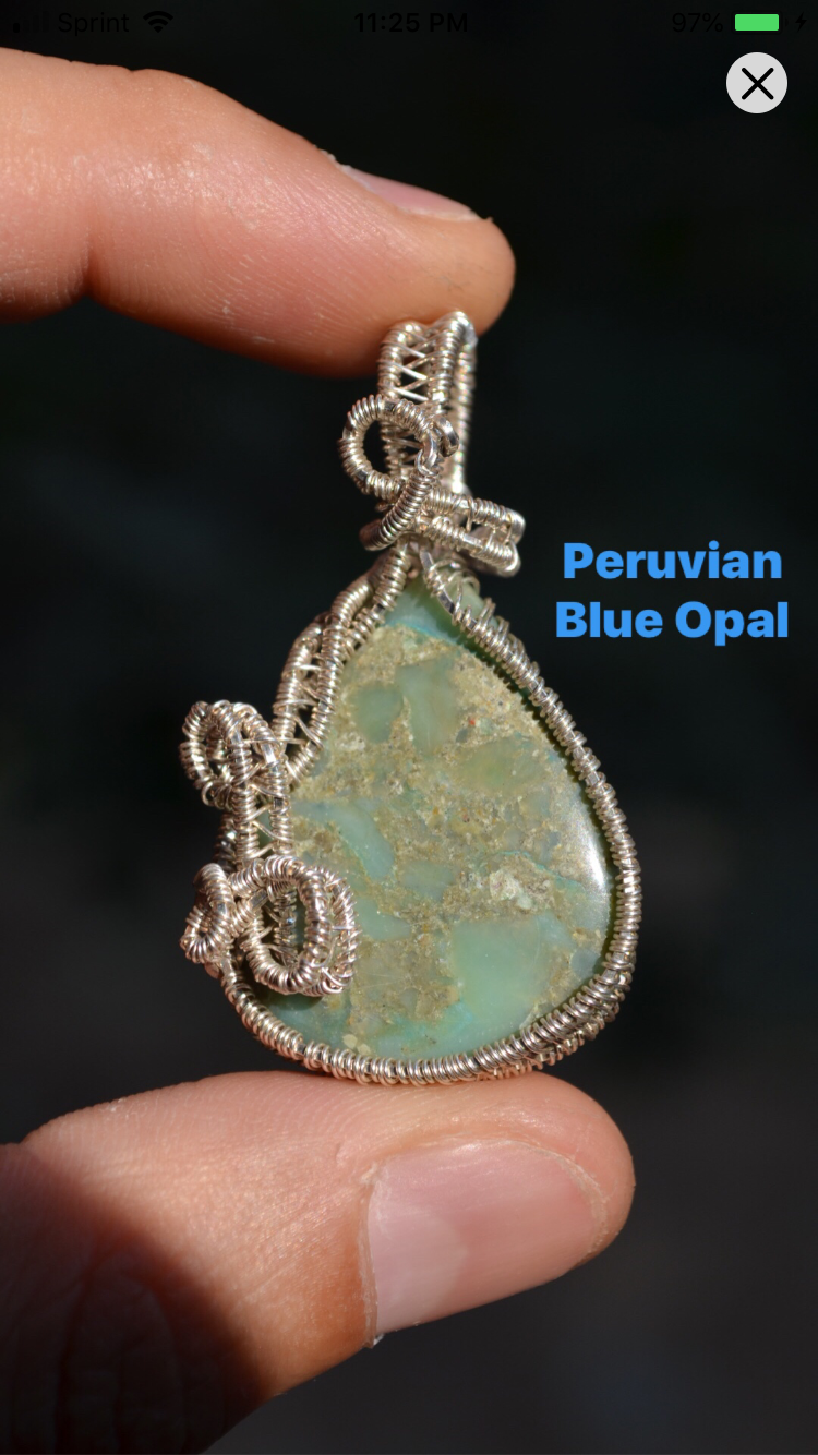 Peruvian Blue Opal Wire Wrap in Sterling Silver