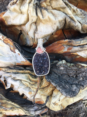 Rhodochrosite and Uruguayan Amethyst Stalactite Wire Wrap in Sterling Silver