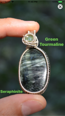 Green Tourmaline and Seraphinite Wire Wrap in Sterling Silver