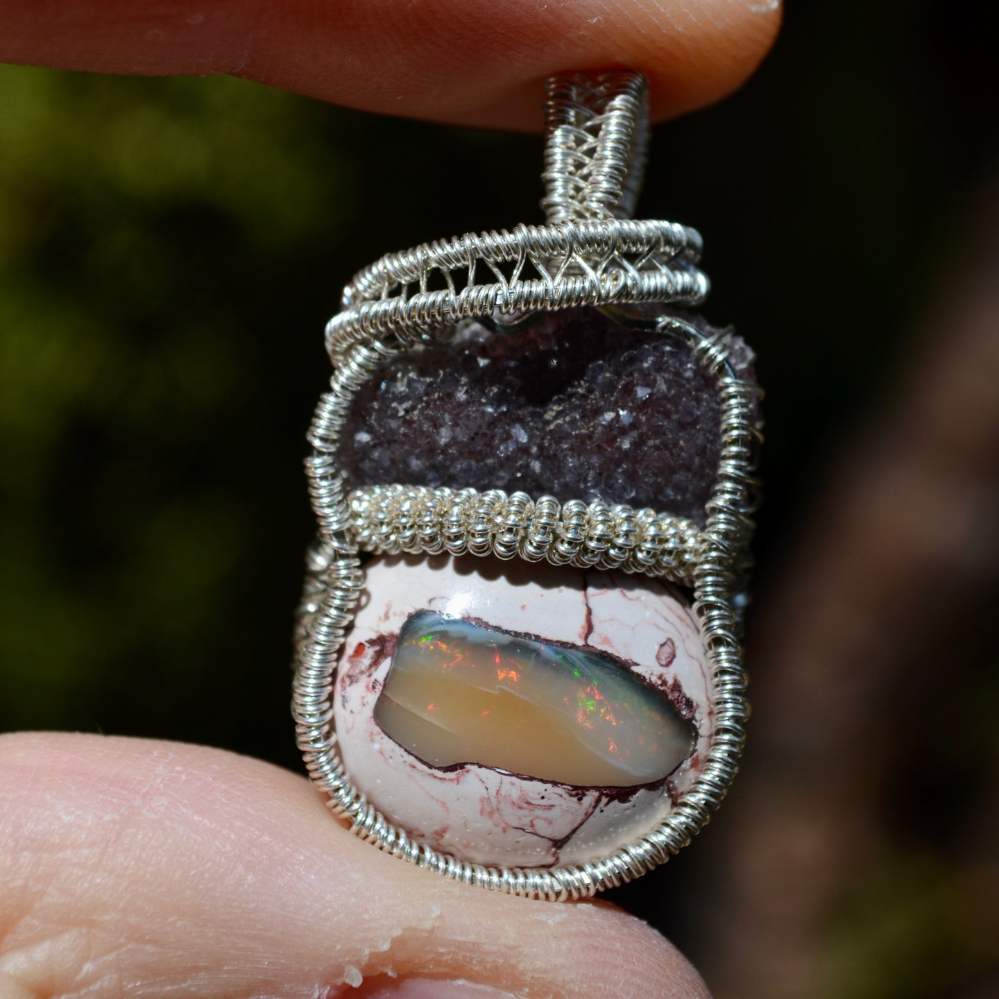 Uruguay Black Amethyst and Fire Opal Wire Wrap in Sterling Silver