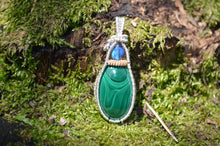 Labradorite and Malachite Wire Wrap in Sterling Silver