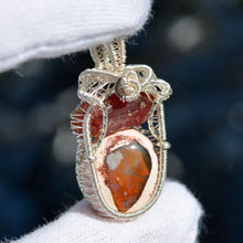 Pink Tourmaline & Mexican Fire Opal Wire Wrap in Sterling Silver