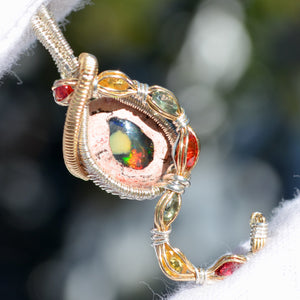 Mexican Fire Opal & 7x Sapphire Wire Wrap Pendant Wire Wrap Pendant