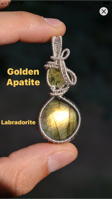 Golden Apatite and Labradorite Wire Wrap in Sterling Silver