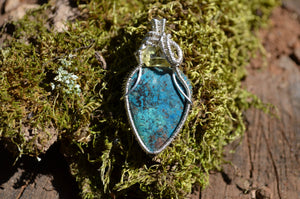 Golden Apatite & Chrysocolla Azurite Shattuckite Wire Wrap in Sterling Silver