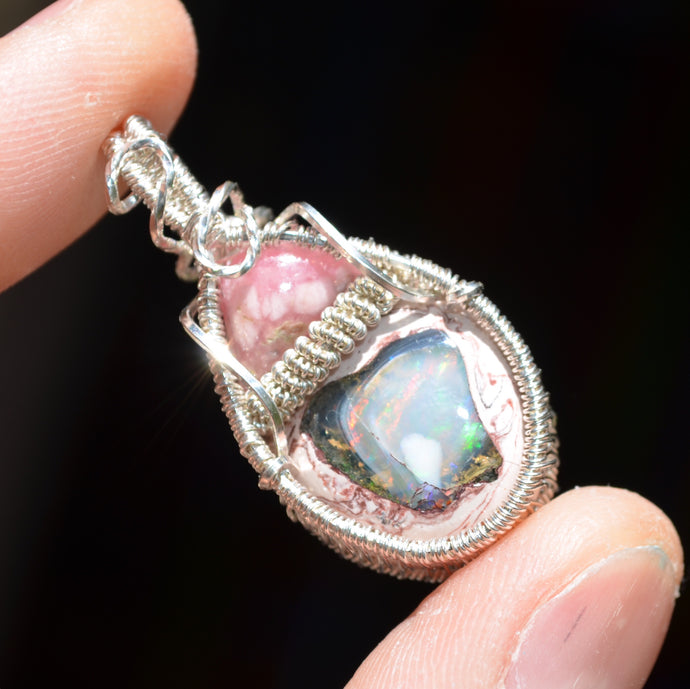 Rhodochrosite Wire Wrap in Sterling Silver made with Love and Uplifting Intentions at the Galactic Artifact Labratory