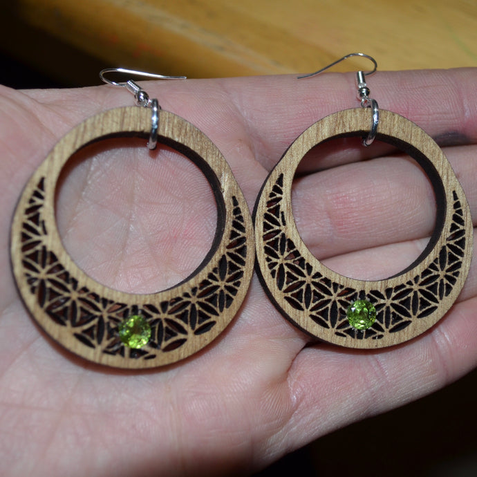 7mm Peridot Crescent of Life Earrings