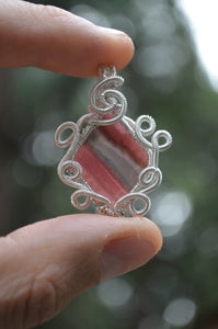 Rhodochrosite Wire Wrap in Sterling Silver