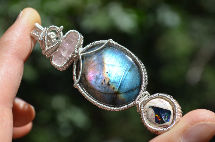 Pink Tourmaline Labradorite and Fire Opal Wire Wrap in Sterling Silver