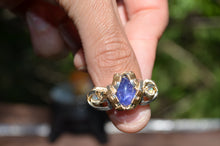 Tanzanite Royalty - 5 Tanzanite and 2 Fire Opal Ring size 10.5