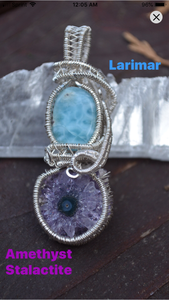 Larimar and Amethyst Stalactite Wire Wrap in Sterling Silver