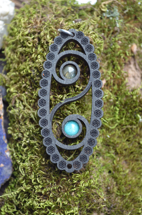 Wave Labradorite Amazonite Space Cruiser Pendant