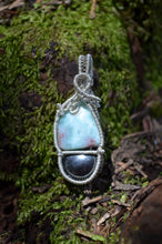 Larimar and Hematite Wire Wrap in Sterling Silver