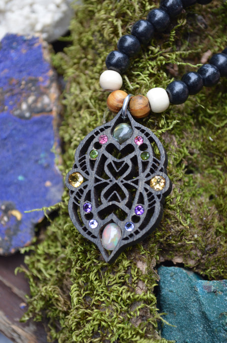 ***Sold Out*** Violeta 3 Labradorite Tourmaline Citrine Amethyst Tanzanite Fire Opal Gemlord Space Cruiser Pendant