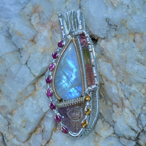 Kohora - Rainbow Moonstone Hand Carved Ametrine Multi Color Tourmaline 8 Pink Tourmaline Facets 3 Citrine Wire Wrap Pendant