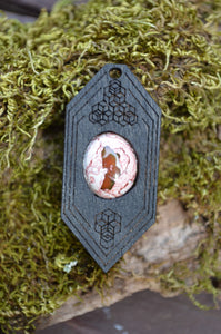 Fire Opal 06 Hexagon Portal Space Cruiser Pendant