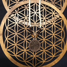 Mayan Calendar 3D Flower of Life Sungazer w/ Hand Beaded Wood Necklace