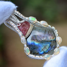 Twilight - Labradorite Pink Tourmaline and 7 Fire Opal Wire Wrap Pendant