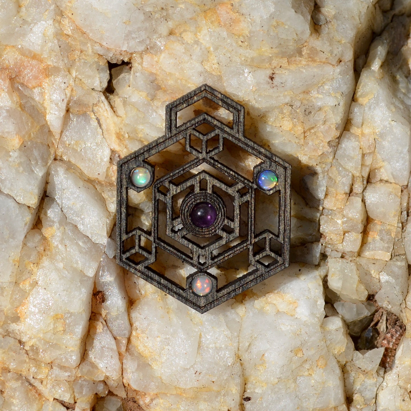 Triangulate Amethyst & 3x Fire Opal Gemlord Space Cruiser Pendant