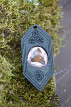 Fire Opal 13 Hexagon Portal Space Cruiser Pendant