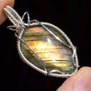 Labradorite Wire Wrap in Sterling Silver