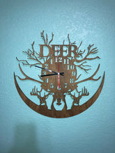 Deer Reverse Wall Clock in Dark Walnut