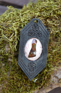 Fire Opal 04 Hexagon Portal Space Cruiser Pendant