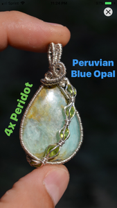 Peruvian Blue Opal & 4 Peridot Wire Wrap in Sterling Silver